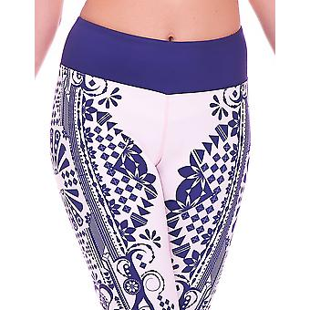 Mio Active Long Creme Indigo Tribal Yoga Leggings MS16S5L