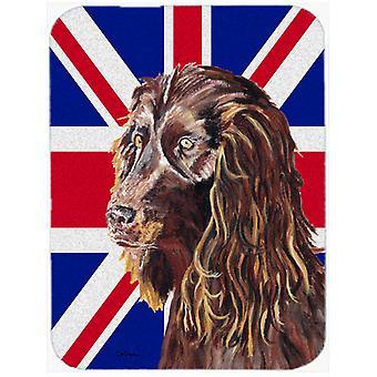 Boykin Spaniel with Engish Union Jack British Flag Glass Cutting Board Large Siz