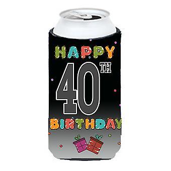 Happy 40th Birthday Tall Boy Beverage Insulator Hugger