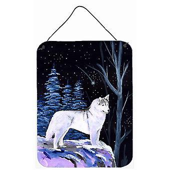 Starry Night Siberian Husky Aluminium Metal Wall or Door Hanging Prints