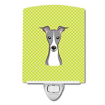 Checkerboard Lime Green Italian Greyhound Ceramic Night Light