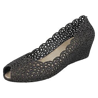 Ladies Savannah Slip On Open Toe Ballerina Shoes
