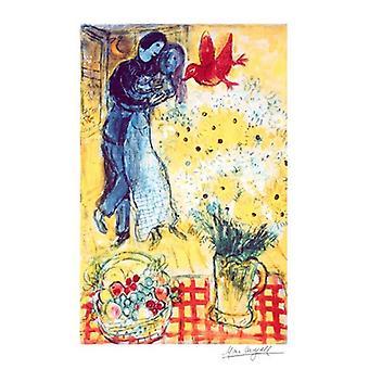 Elskere og Tusindfryd plakat Print af Marc Chagall (18 x 24)