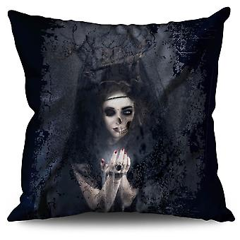 Scary Girl Scream Linen Cushion 30cm x 30cm | Wellcoda