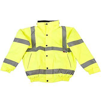 High Visibility Viz Reflective Yellow Mens Safety Workwear Bomber Coat Jacket