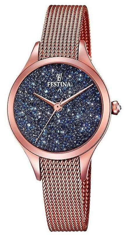 Festina Womens Mademoiselle Rose Gold PVD Mesh Swarovski Dial F20338/3 Watch