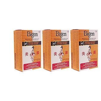 Bigen Powder Hair Color #47 Medium Chestnut 6 ml (3-Pack) (haarfarben)