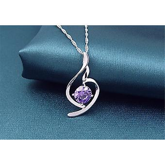 Silver Lilac Stone Cubic Zirconia Necklace