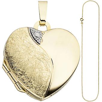 Medaillon hart hanger te openen voor 2 foto's 333 goud met ketting 50 cm