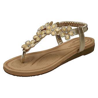 Ladies Savannah låg Wedge Toepost sandaler F00102
