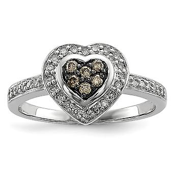 925 Sterling Silver Champagne Diamond Small Love Heart Ring Jewelry Gifts for Women - Ring Size: 6 to 8