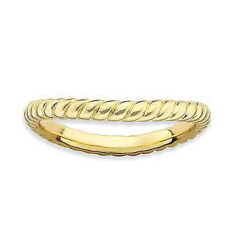 2.25mm 925 Sterling Silver Textured Patterned Stackable Expressions Polished 14k Gold PlatedWave Ring Jewelry Gifts for
