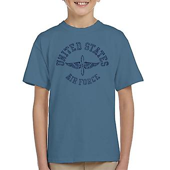 US Airforce Winged Propeller Navy Blue Text Kid's T-Shirt