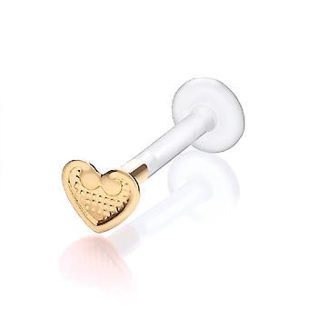 Labret Bar Stud Monroe, Tragus Piercing Bioflex, ct 9 amarelo ouro coração Vintage