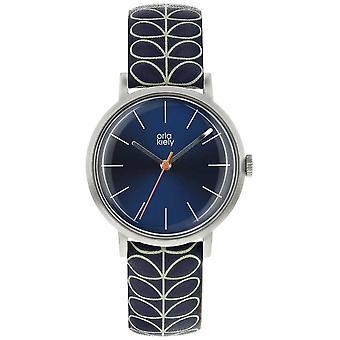 Orla Kiely prata caso azul marinho Sunray Dial azul marinho couro Watch Strap OK2175