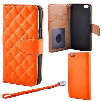 Gewatteerde luxe Wallet case voor iPhone 6/6S PLUS, oranje