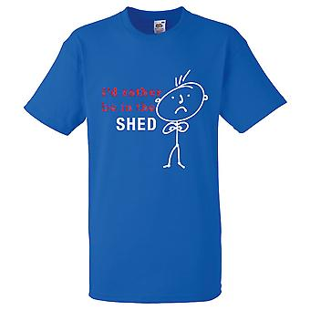 Mens I'd Rather Be In The Shed Royal Blue Tshirt