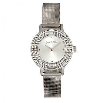 Sophie & Freda Cambridge Bracelet Watch w/Swarovski Crystals - Silver