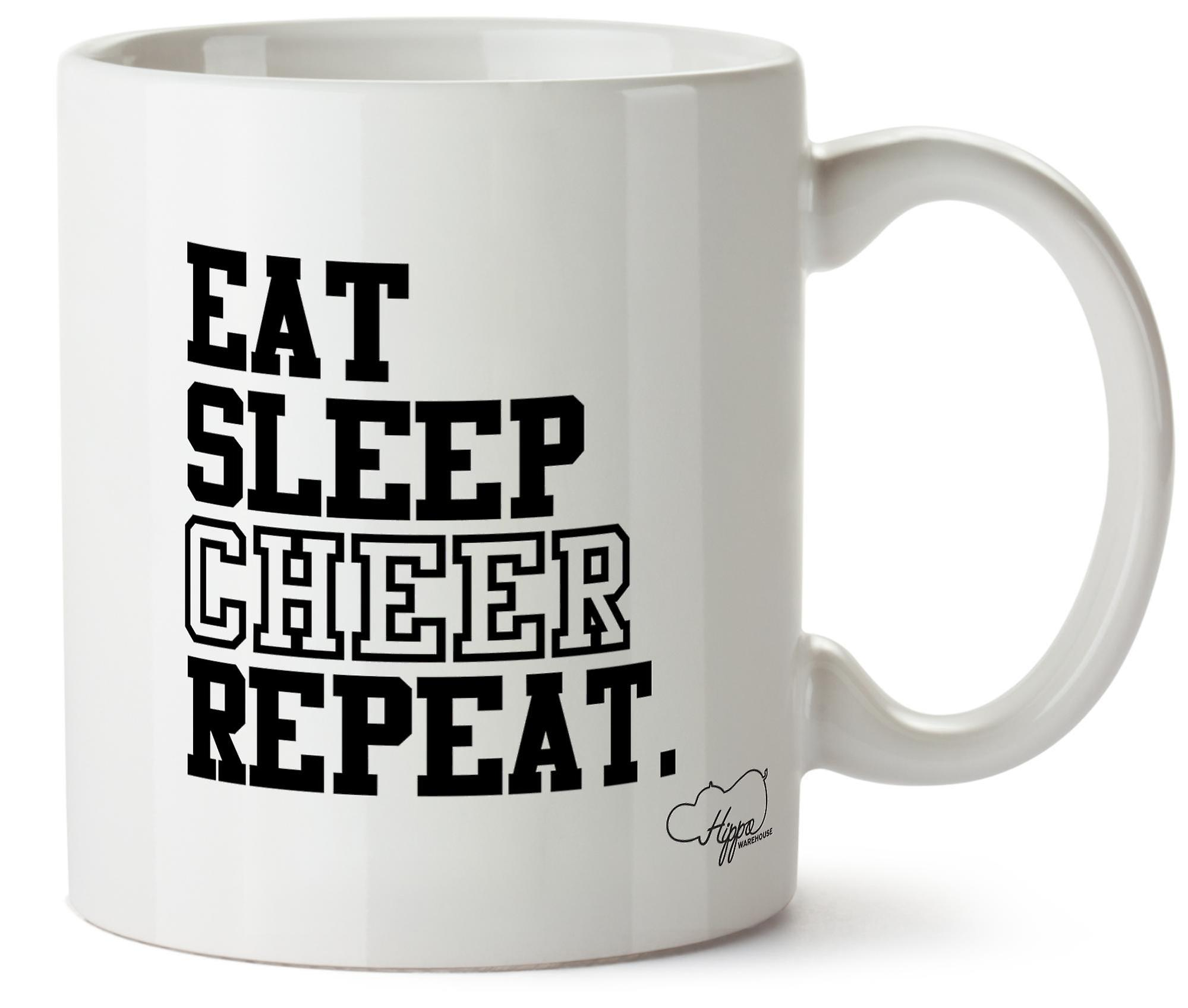 Hippowarehouse Eat Sleep Cheer Repeat Cheerleading 10oz Mug Cup