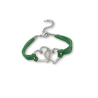 Bracelet Double Coeur en Suèdine Vert et Plaqué Rhodium 3204
