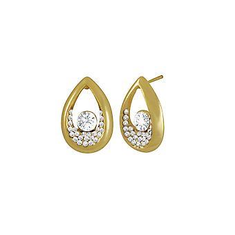 Eternal Collection Bliss Clear Austrian Crystal Gold Tone Stud Pierced Earrings