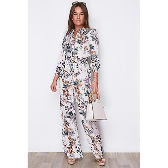 Fit and Flare Floral Print Jumpsuit