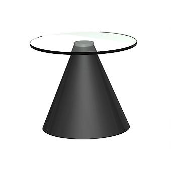 Gillmore Round Clear Glass Side Table With Conical Black Base