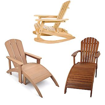 Garden & Patio Outdoor Adirondack Design Chairs, Rocking Chair and Sun Loungers