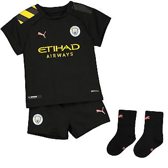 Puma Manchester City 2019/20 Infant Kids Baby Away Football Kit Black