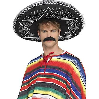 Deluxe authentiek Sombrero zwart, zilver vlechten, Mexicaanse fancy dress
