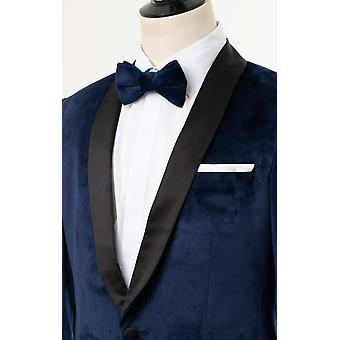 Dobell mens Navy Velvet 2 stuk Tuxedo regular fit contrast sjaal revers