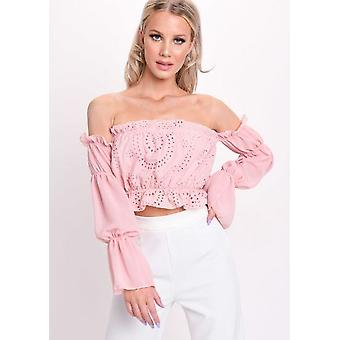 Frill Bardot Broderie Anglaise Tiered Puff Sleeve Crop Top Pink