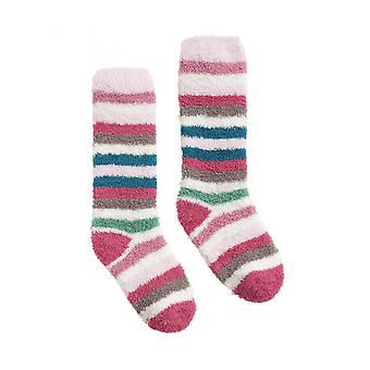 Joules Fluffy Girls Fluffy Sock - Roz cu dungi multiple