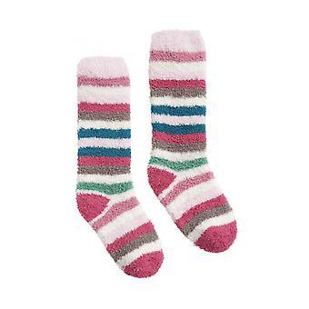 Joules pluizig meisjes pluizig sok-roze multi Stripe
