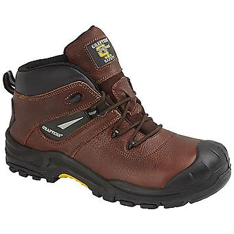 Grafters Mens Conker Tumbled Leather Laced Safety Boot