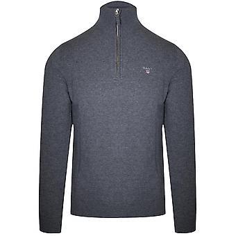 Gant Super Fine Lambswool halv zip grå Sweatshirt