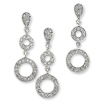 925 Sterling Silver Polished Post Earrings CZ Cubic Zirconia Simulated Diamond Circle Pendant Necklace and Earring Set J