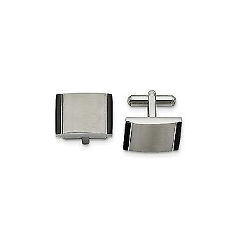 Stainless Steel Brushed Engravable Satin With Black Acrylic Cuff Links Jewelry Gifts for Men