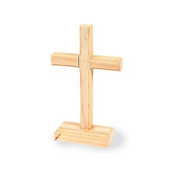 12 Wooden 19cm Christian Cross figurer på stands til pynt for håndverk