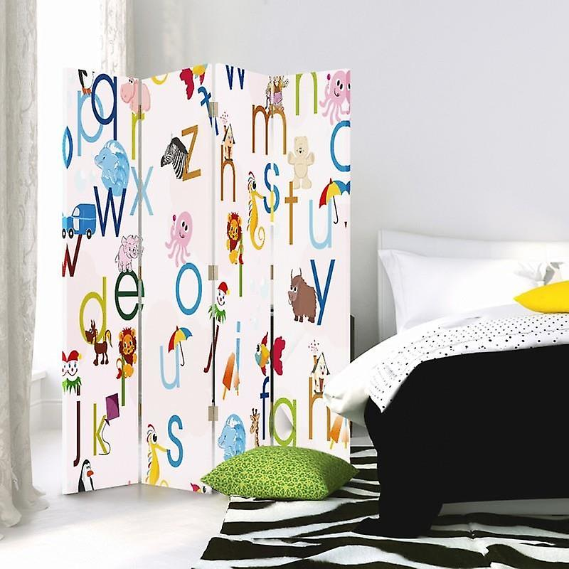 Room Divider, 4 panneaux, Double-Sided, Rotatable 360 ?? Toile, Literki