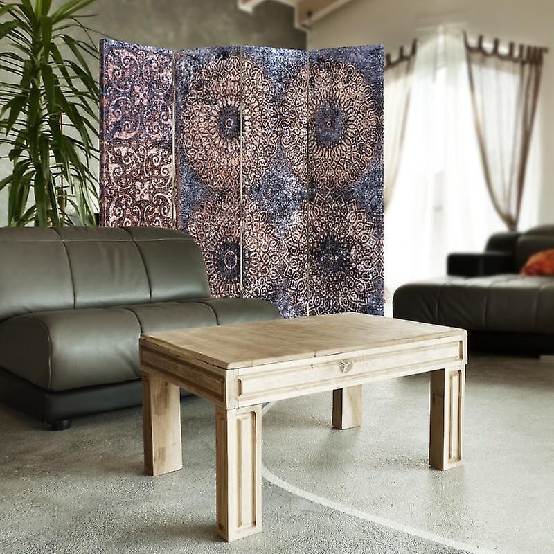 Diviseur de chambre, 4 panneaux, double-sided, 360 rotatable, toile, les modèles de caverne