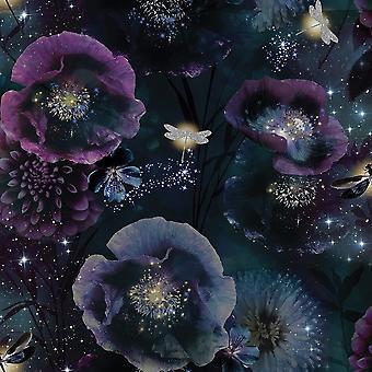 Fantasie Nocturní Tapeta fialová/šedozelená 692301