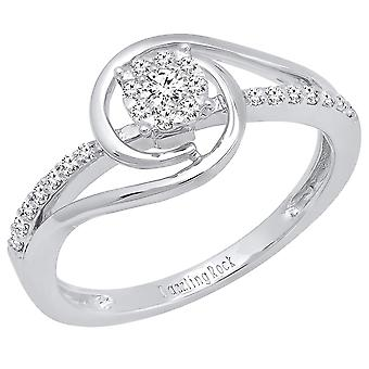 0.25 Carat (ctw) 14K Round Diamond Ladies Twisted Engagement Rings 1/4 CT, White Gold