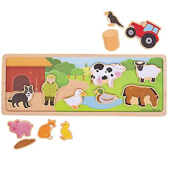 Bigjigs Toys Wooden Magnetic Picture Board (Farm) Storytelling Creative