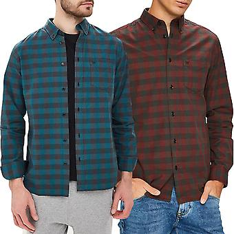 Wrangler Mens One Pocket Button Down Cotton Casual Long Sleeve Checked Shirt Top