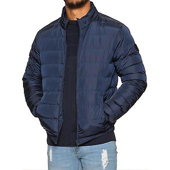 Mens Quilted Jacket Zip Up Plain Padded Puffer