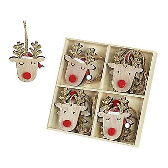 Wooden Reindeer with Gold Antlers Christmas Hanging Decs Set of 8