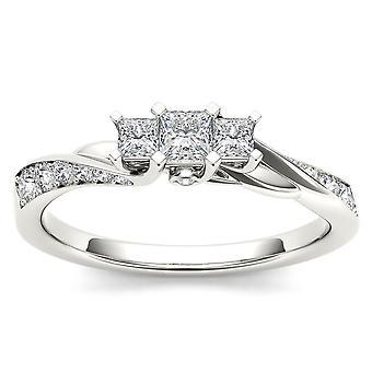 Igi certified 14k white gold 0.60ct princess diamond three stone engagement ring