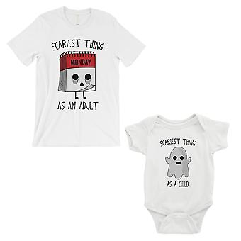 الأكثر رعبا كطفل بالغ مطابقة أبي قميص وطفل بودي بذلة بيضاء