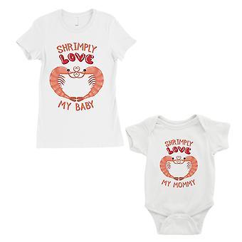 Shrimply kjærlighet baby mamma mor og baby matchende gave T-skjorter hvit